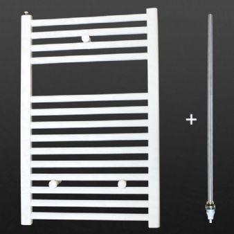 Ultraheat Chelmsford 764 x 500mm Straight White 500w Electric Heated Bathroom Towel Warmer